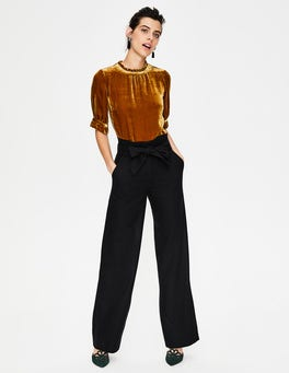 Black Rosemoor Paperbag Trousers