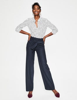 Navy Rosemoor Paperbag Trousers