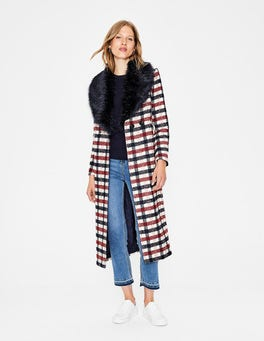 Navy and Wine Check Burley Coat