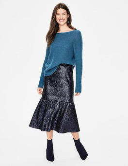 Navy Sequin Midi Skirt