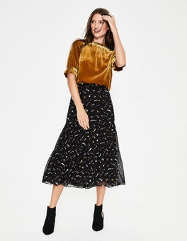 Black and Trumpet Cosmic Frome Midi Skirt