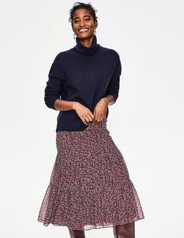 Dark Burgundy Twinkle Vine Frome Midi Skirt
