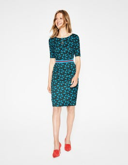 Chatsworth Green, Leaf Fleur Fitted Dress
