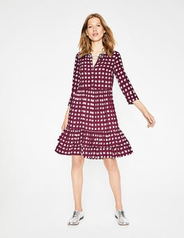 Mulled Wine Pow Relaxed Tiered Hem Shirt Dress