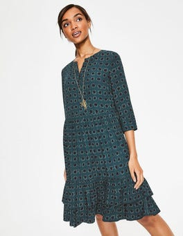 Seaweed and Navy Pow Relaxed Tiered Hem Shirt Dress