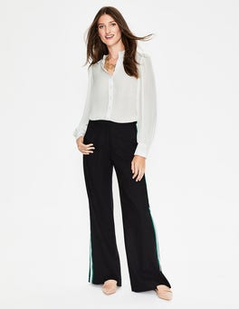 Ivory Blouson Sleeve Silk Shirt