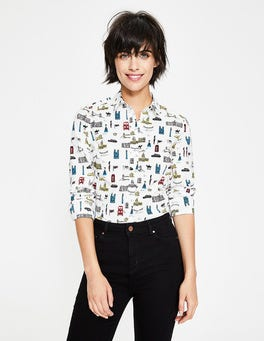 Ivory and Poinsettia, London Modern Classic Shirt