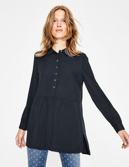 Navy Drop Hem Blouse