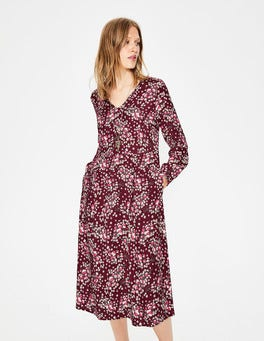 Mulled Wine Autumnal Leaves Easy Midi Dress