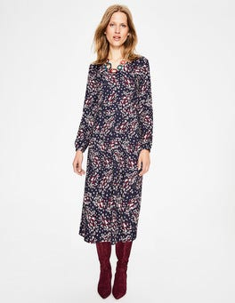 Navy Autumnal Leaves Easy Midi Dress
