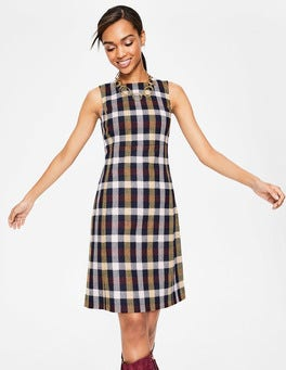Mulled Wine Hot Mustard Check Rosie Tweed Dress