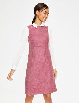 Amaranth and Grey Herringbone Rosie Tweed Dress