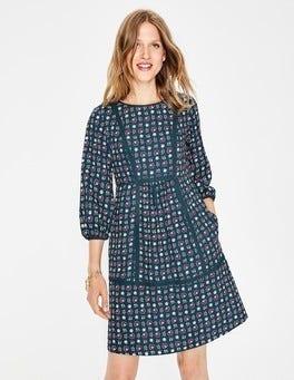 Algengrün, Blumenmuster Luna Kleid
