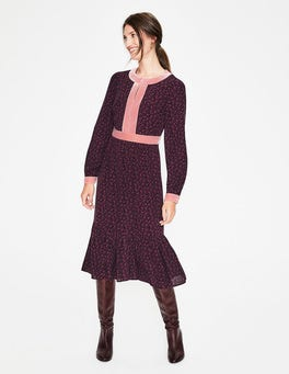 Burgundy, Vine Annabelle Midi Dress