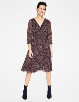 Dark Burgundy, Twinkle Vine Iona Midi Dress