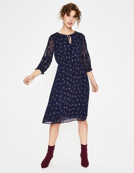 Navy, Shooting Star Iona Midi Dress