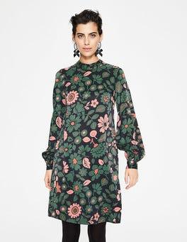 Black, Stylised Bloom Christobel Dress