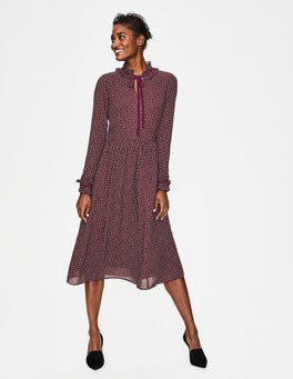 Mulled Wine Scattered Spot Cecilla Midi Dress