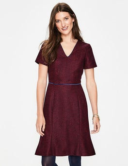 Post Box Red Herringbone Albany Tweed Dress