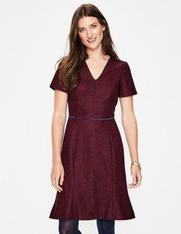 Post Box Red Herringbone Albany Tweed Dress