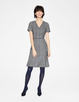 Navy and Ivory Herringbone Albany Tweed Dress