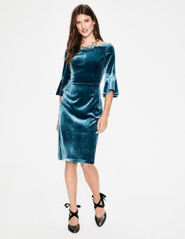 Drummer Blue Aubrey Velvet Dress