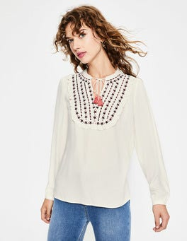 Ivory Polly Embroidered Top