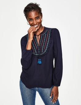Navy Polly Embroidered Top