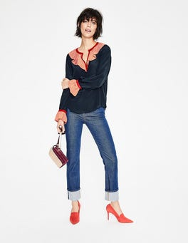 Navy, Blush Colour Block Constance Silk Blouse