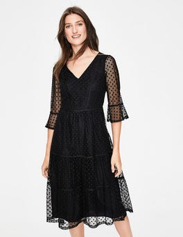 Black Burnout Spot Rosanna Embroidered Midi Dress