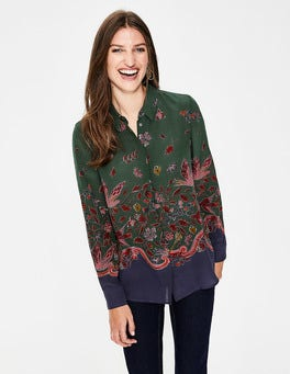Green, Wonderland Bird Naomi Silk Shirt