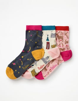 Christmas Three Pack Ankle Socks