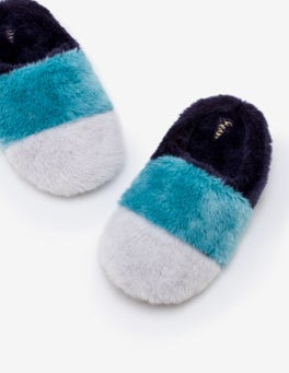 Navy Colour Block Slipper Mules