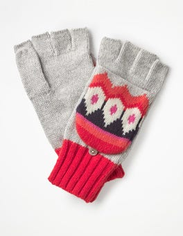 Silver Melange Fair Isle Gloves