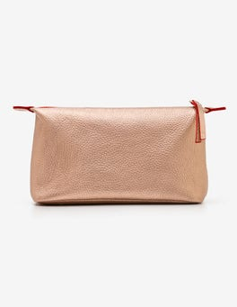 Rose Gold Metallic Small Leather Washbag