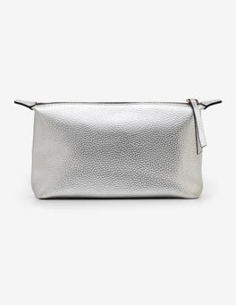 Silver Metallic Small Leather Washbag