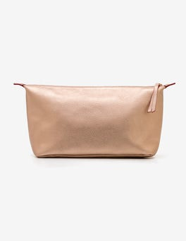 Rose Gold Metallic Large Leather Washbag