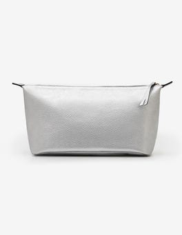 Silver Metallic Large Leather Washbag
