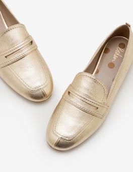 Gold Metallic Georgina Loafers