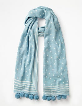 Heron Blue and Ivory Pompom Scarf