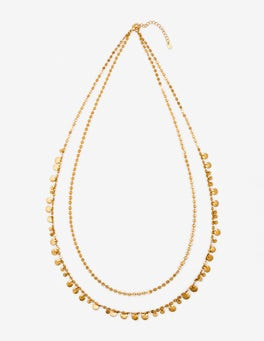 Gold-Metallic Lange Kette mit zierlichen Scheiben