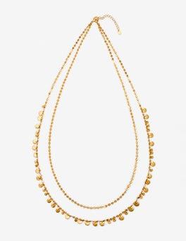 Gold Metallic Dainty Disc Longline Necklace