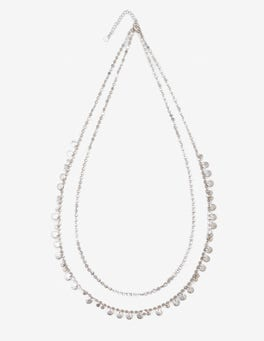 Silver Metallic Dainty Disc Longline Necklace