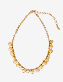 Gold Metallic Dainty Disc Necklace
