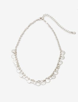 Silver Metallic Dainty Disc Necklace
