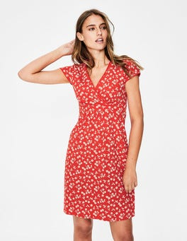 Red Pop/Chalky Pink Cherry Casual Jersey Dress