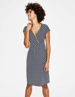 Navy Graphic Geo Casual Jersey Dress