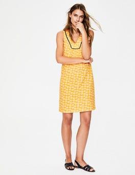 Fröhliches Gelb/Naturweiß, Fallendes Blütenblatt Tarifa Jerseykleid