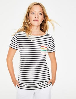 Ivory/ Navy Multi Stripe Short Sleeve Breton