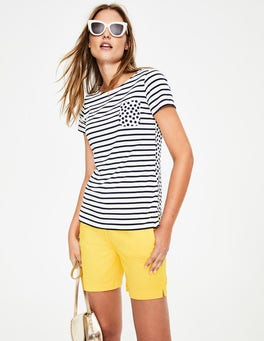 Ivory/Navy Pocket Spot Short Sleeve Breton